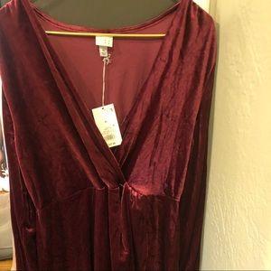 A New Day maroon velvet dress